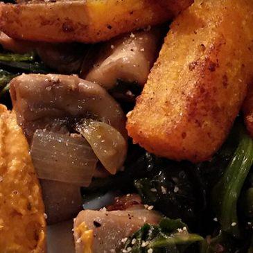 Kürbisfritten mit Spinat & Champignons